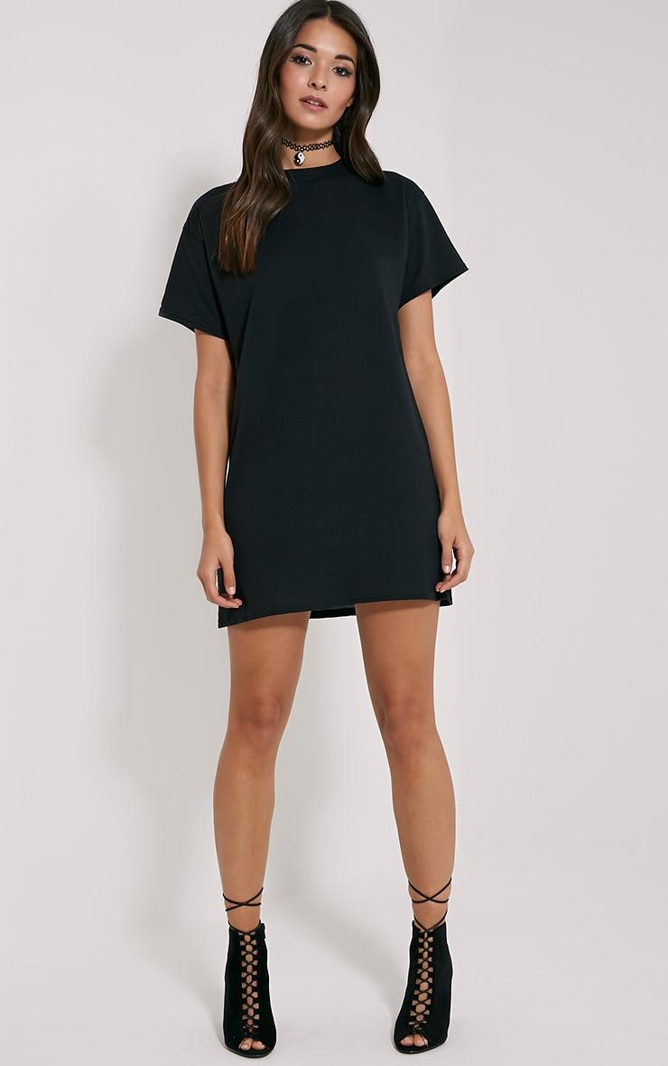 Basic Black Oversized T-Shirt Dress 3