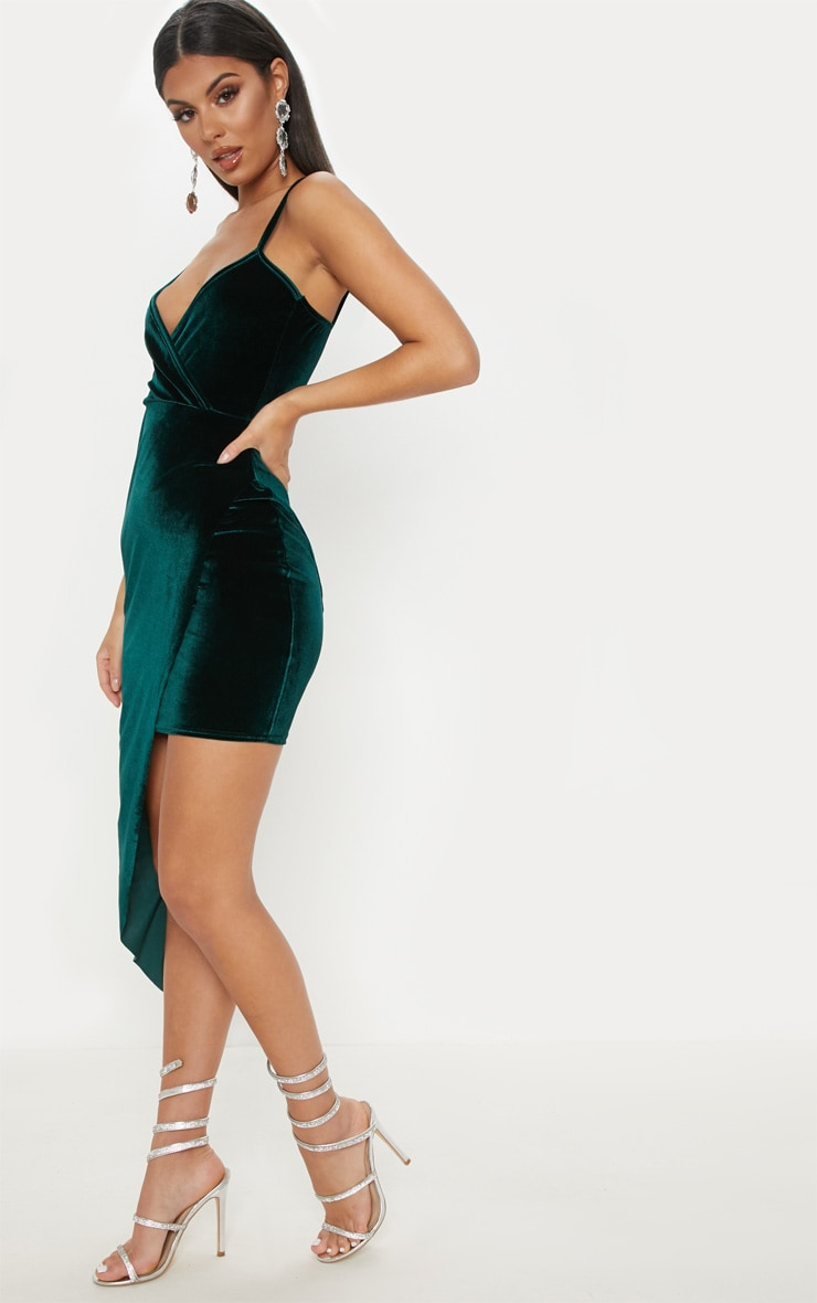 Emerald Green Velvet Draped Midi Dress 4