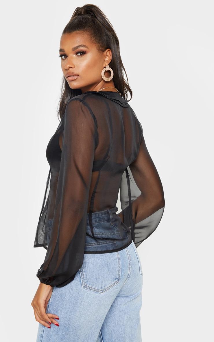 Black Sheer Ruffle Collar Shirt 2