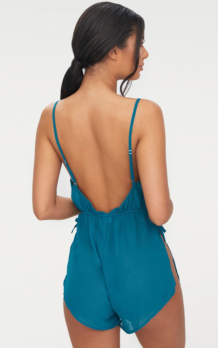 Pyjashort en mousseline de soie bleu sarcelle 2