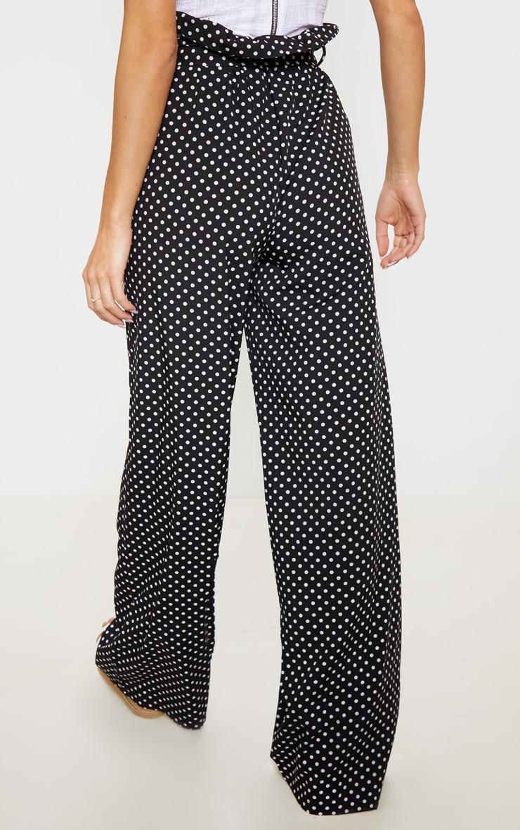 Mono Polkadot Tie Waist Paperbag Wide Leg Pants 4