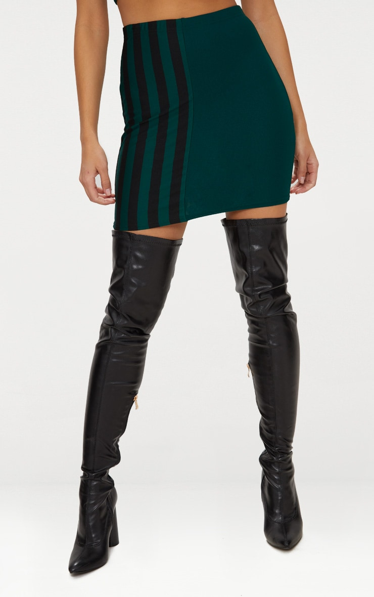 Emerald Green Stripe Panel Mini Skirt  2