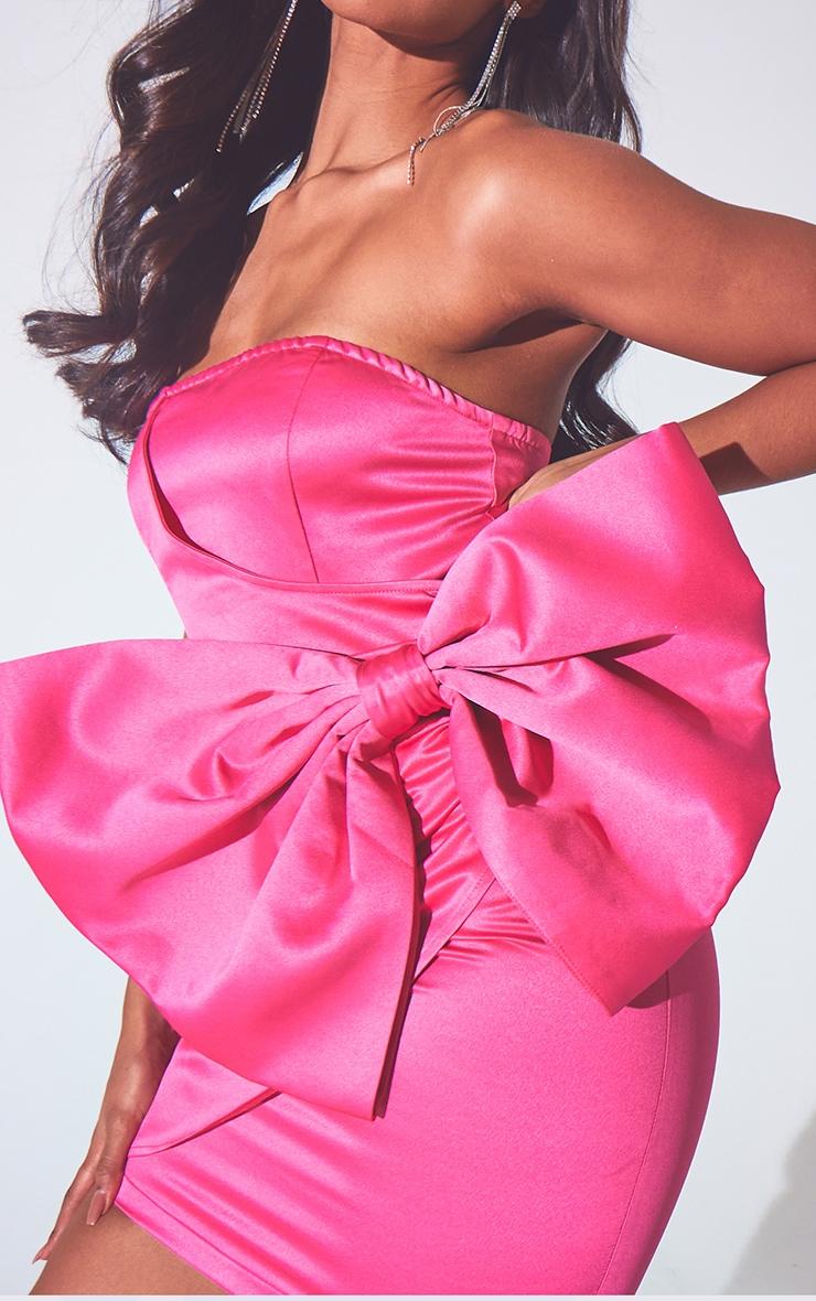 Hot Pink Satin Bow Detail Bandeau Bodycon Dress 4