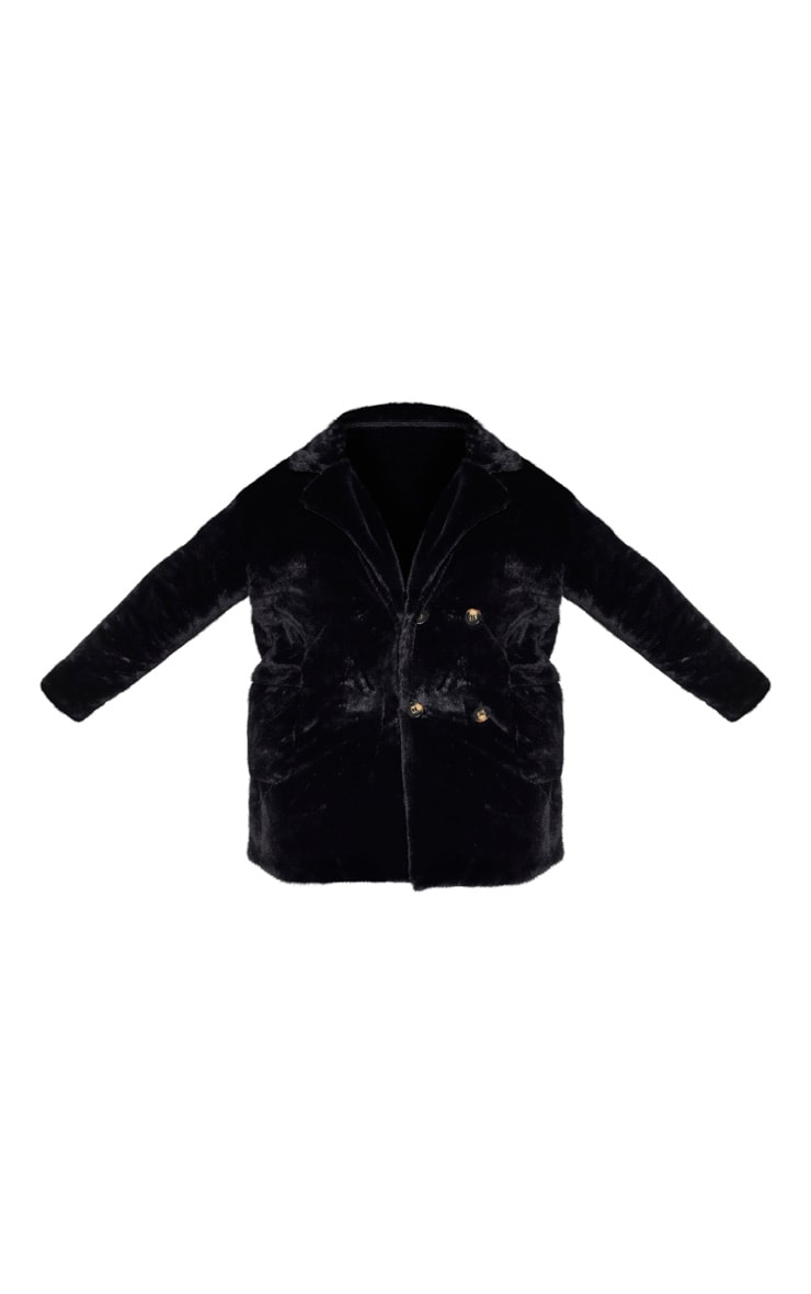 Plus Black Faux Fur Double Breasted Coat 3