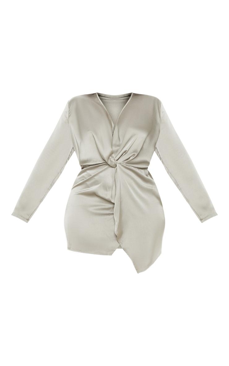 Plus Sage Green Satin Long Sleeve Wrap Dress  3