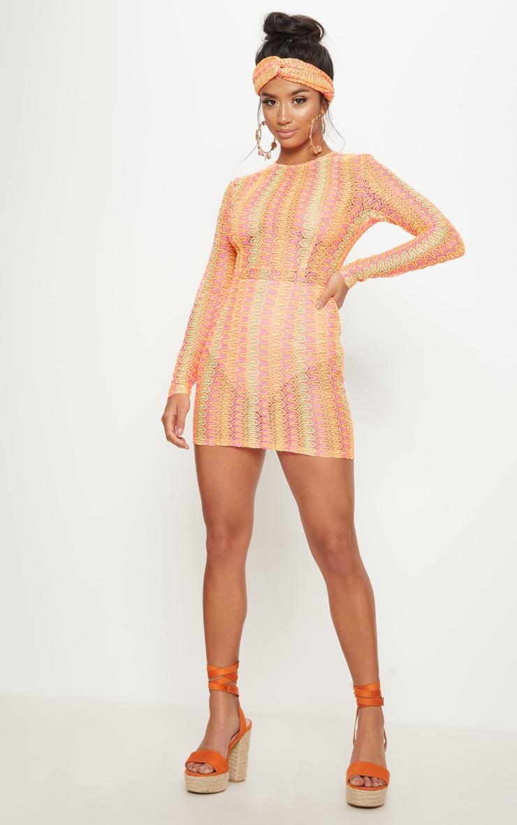 Petite- Robe droite en crochet orange et rose 4