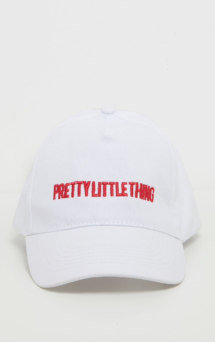 PRETTYLITTLETHING Logo White Red Front Cap 3