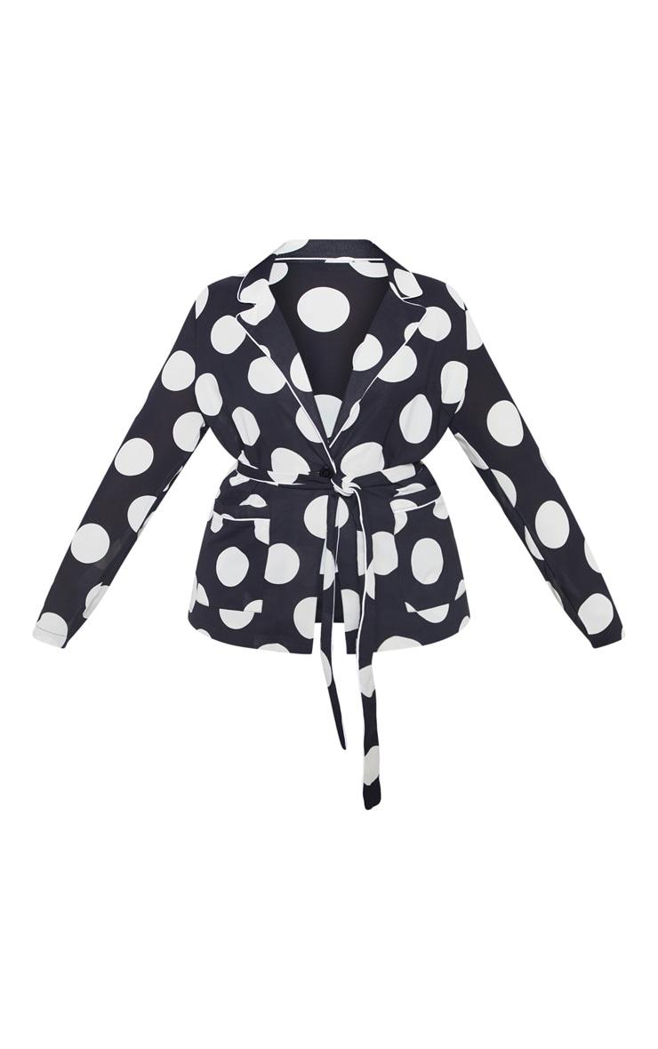 Plus Black Polka Dot Contrast Detail Blazer 3