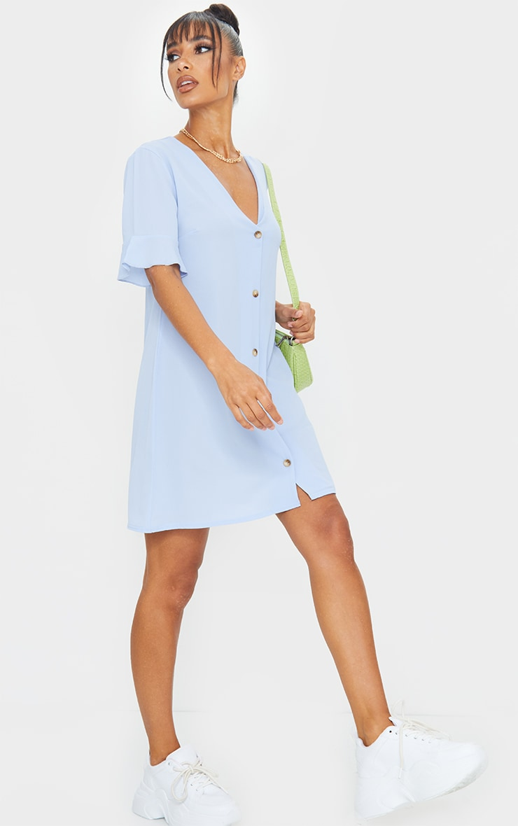 Dusky Blue Through Frill Sleeve Dress 3