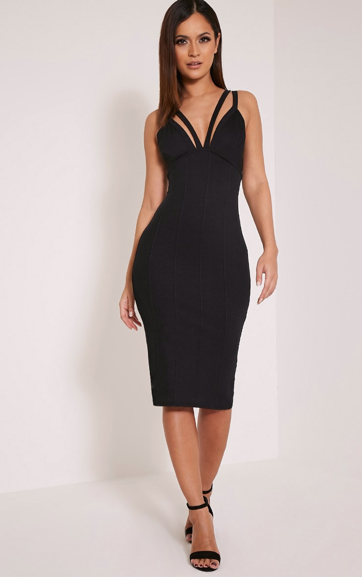 Kalle Black Bandage Detail Strappy Cup Midi Dress 5