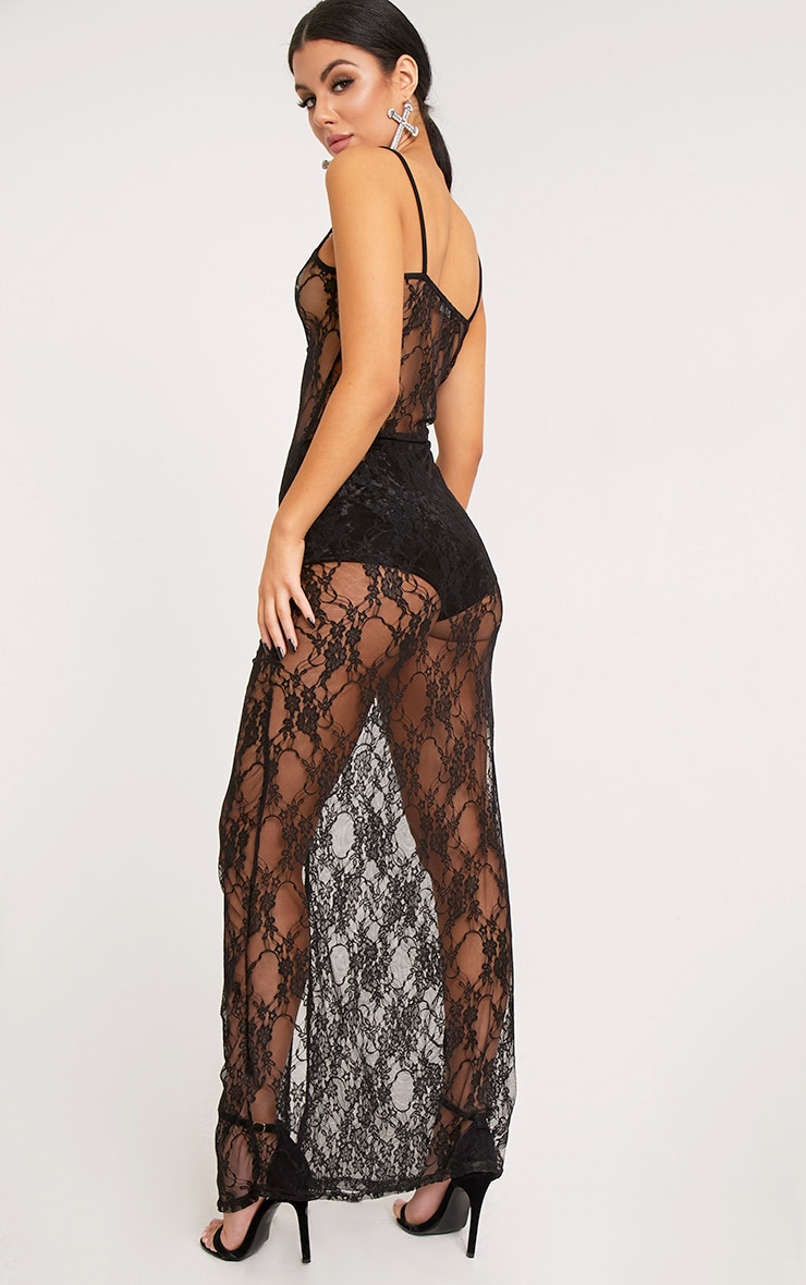 Kelsia Black Lace Plunge Maxi Dress 1