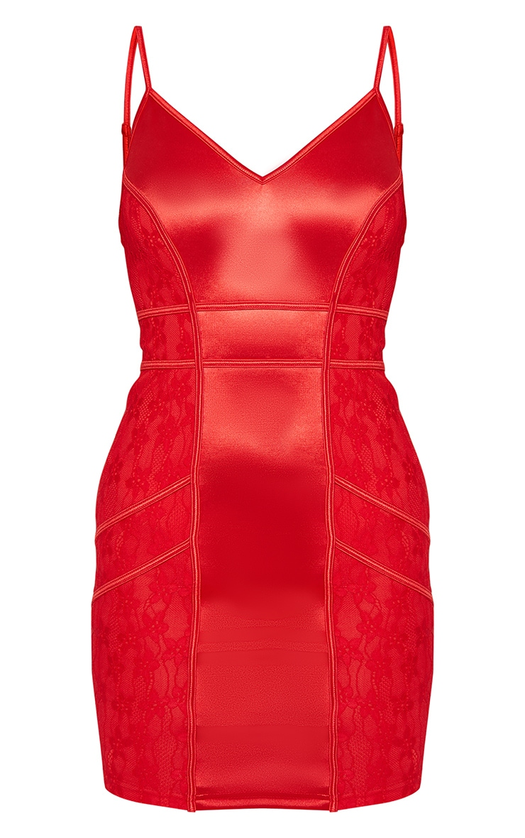 Red Satin Piped Lace Insert Bodycon Dress 2