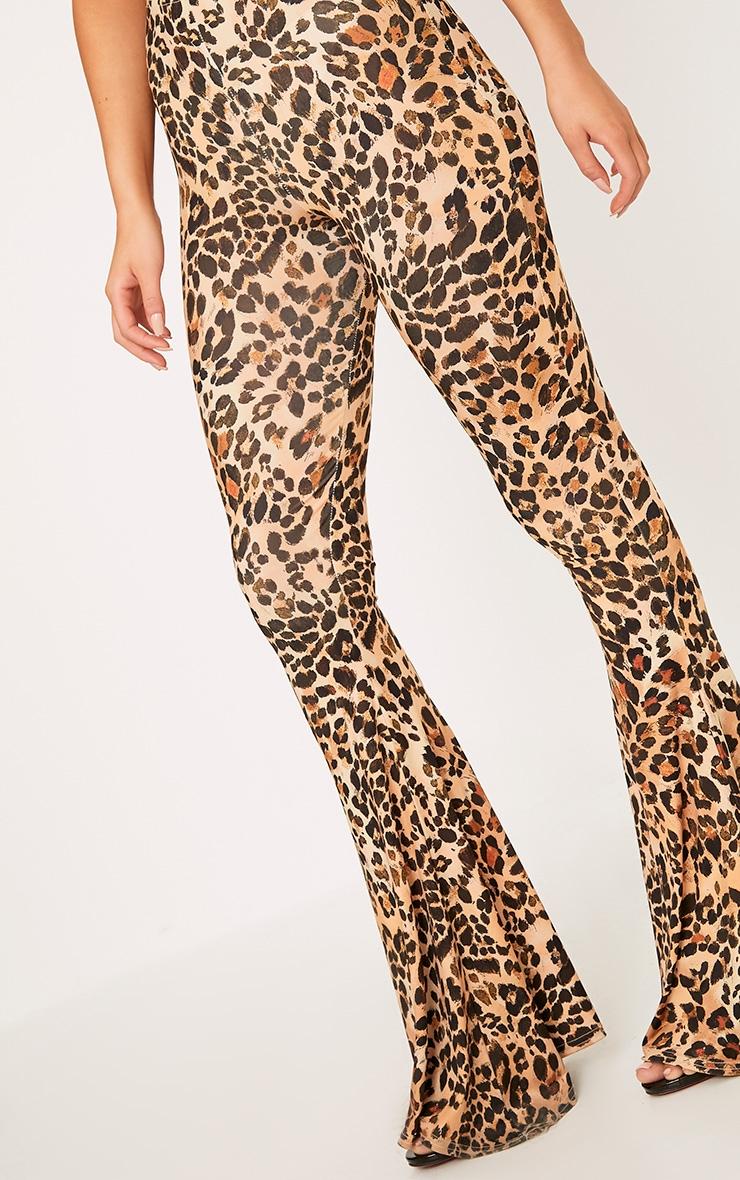 Brown Slinky Leopard Print Flared Pants 6