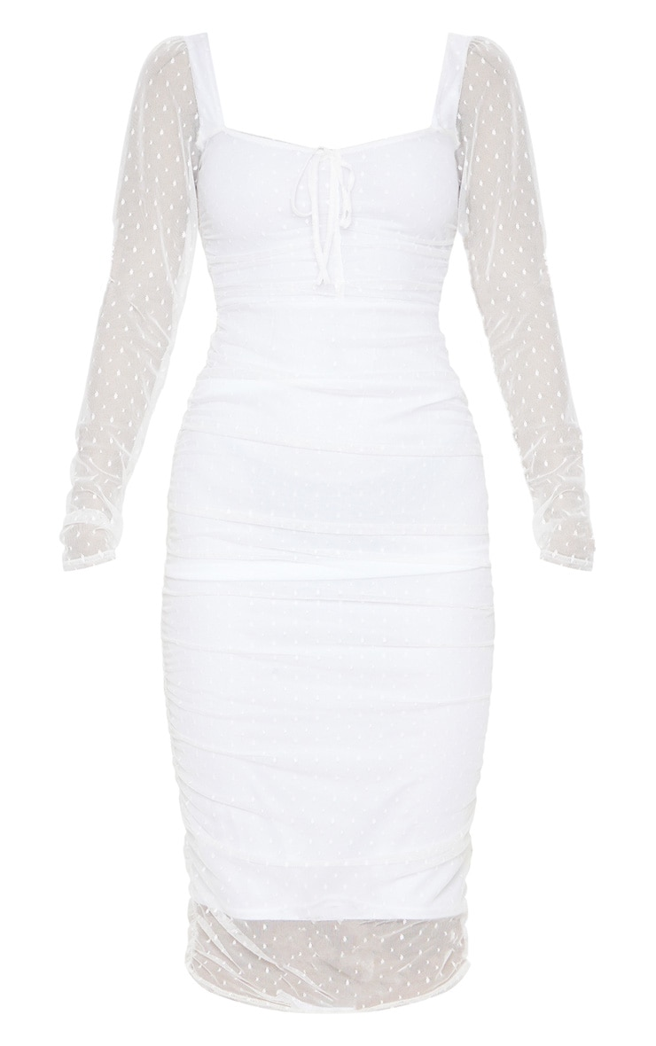 White Dobby Mesh Ruched Long Sleeve Midi Dress 3