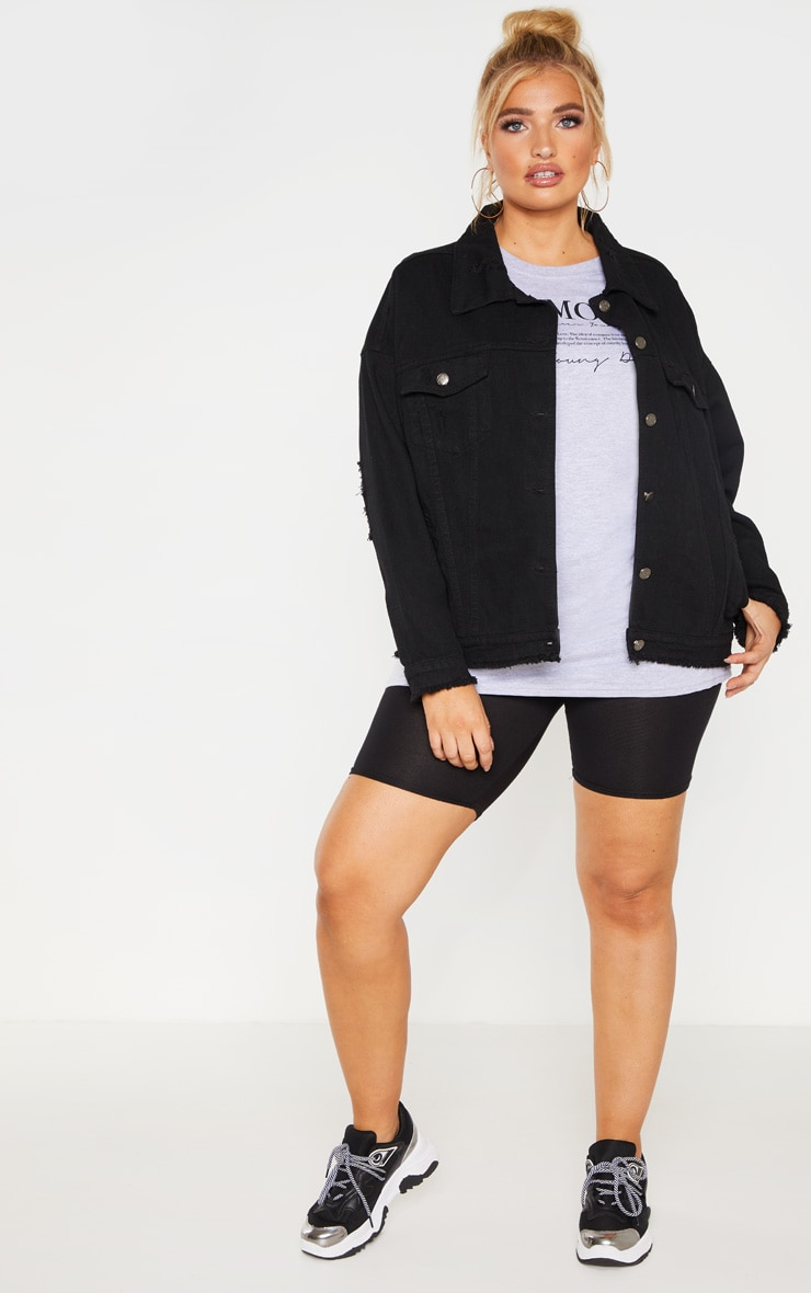 Plus Black Distressed Oversized Denim Jacket 4