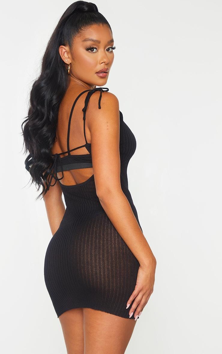 Black Sheer Knit Tie Back Mini Dress 2