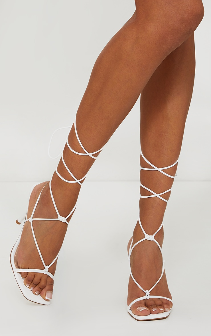 White Knot Detail Knee High Lace Up Heels 4