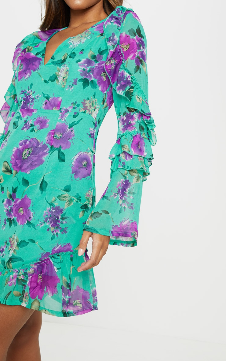 Green Floral Tiered Detail Frill Hem Shift Dress 5