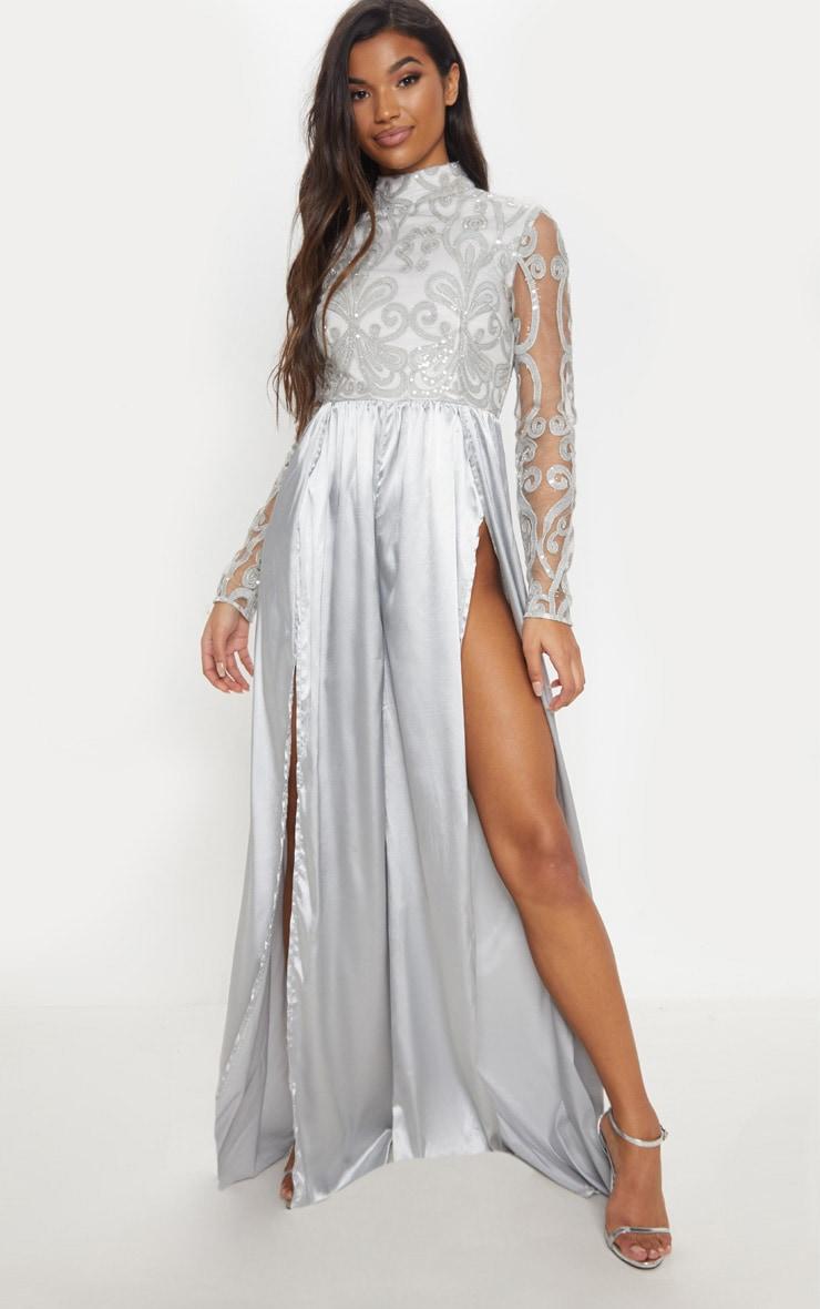 ace0099a60 Silver Glitter Top Split Leg Jumpsuit image 1