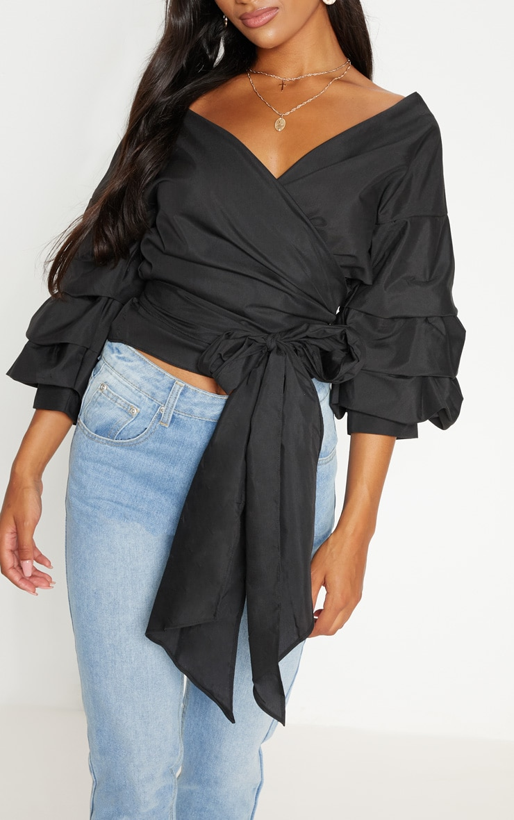 Marlow Oversized Black Ruffle Sleeve Low Shoulder Shirt 5