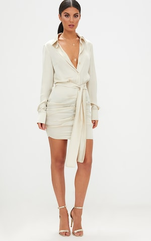 Champagne Satin Ruched Shirt Dress