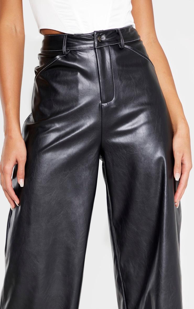 Black Faux Leather Contrast Stitch Wide Leg Pants  5