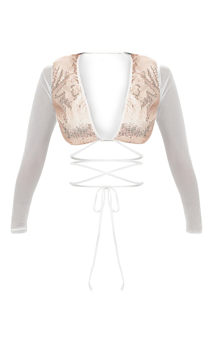 Rose Gold Sequin Plunge Front Tie Top 3