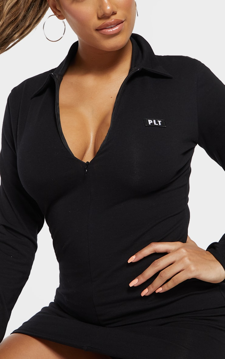 PRETTYLITTLETHING Shape Black Cotton Collar Bodycon Dress 4