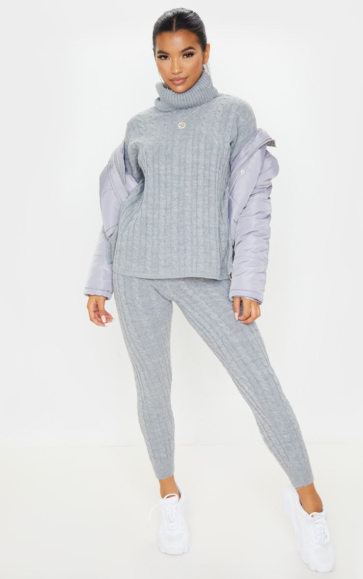 Grey Cable Knit Roll Neck And Legging Set 1