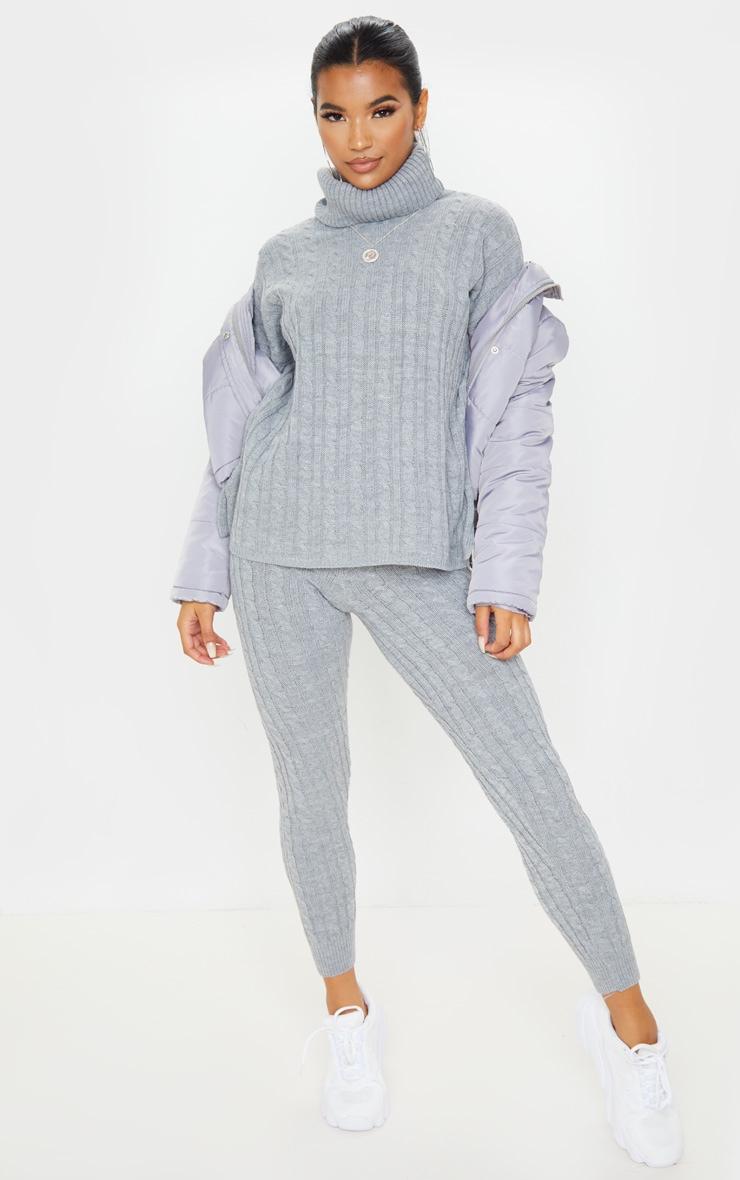 Ensemble pull à col roulé & legging en grosse maille grise 1