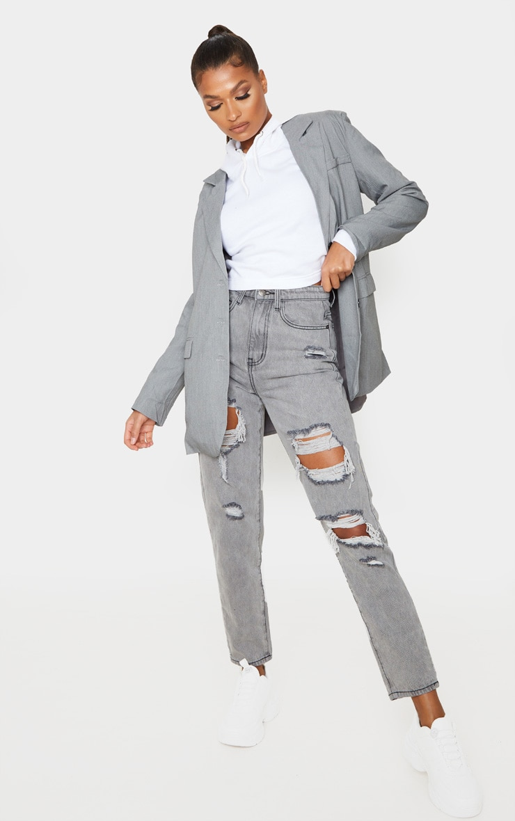 PRETTYLITTLETHING Grey Distressed Mom Jean image 1