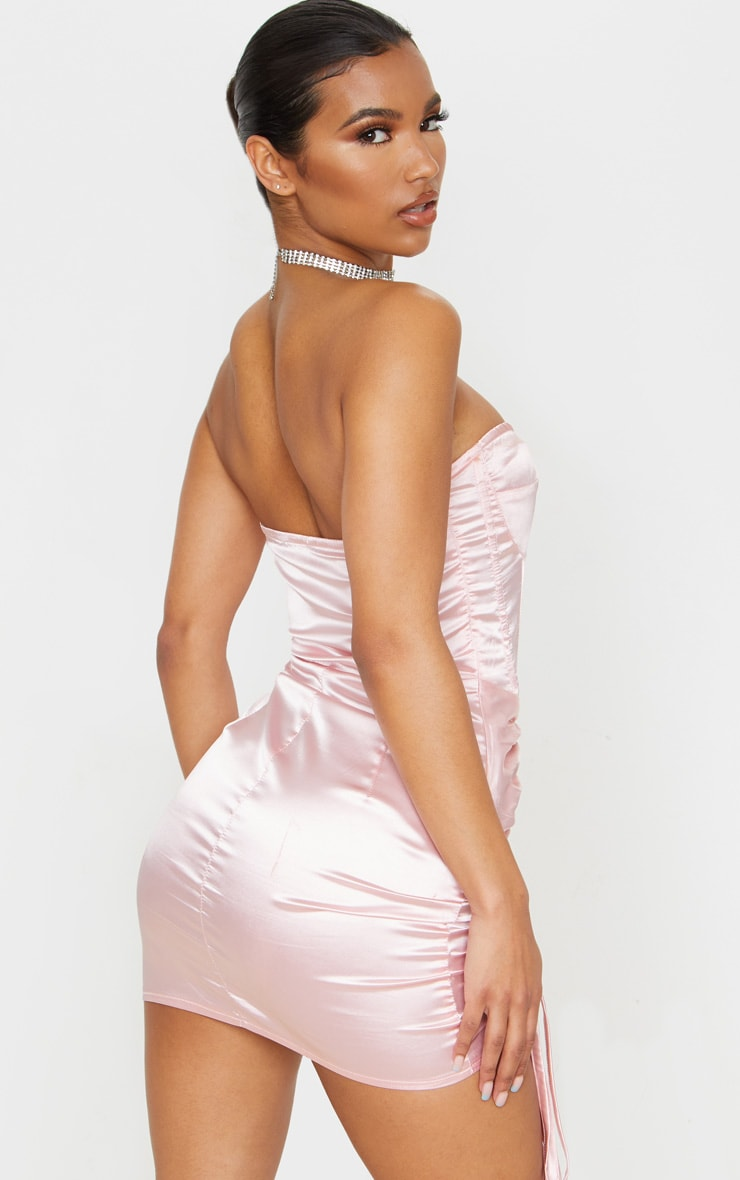 Baby Pink Satin Ruched Side Bandeau Bodycon Dress 2