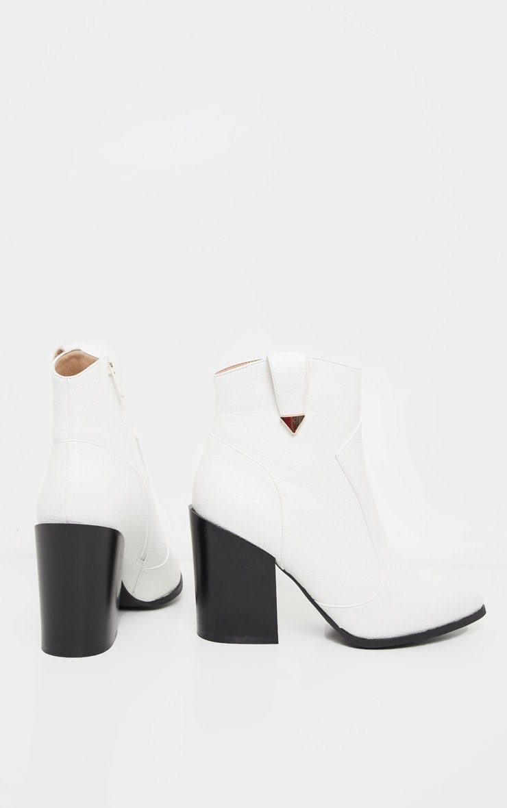 White Western Detail Ankle Boot 4