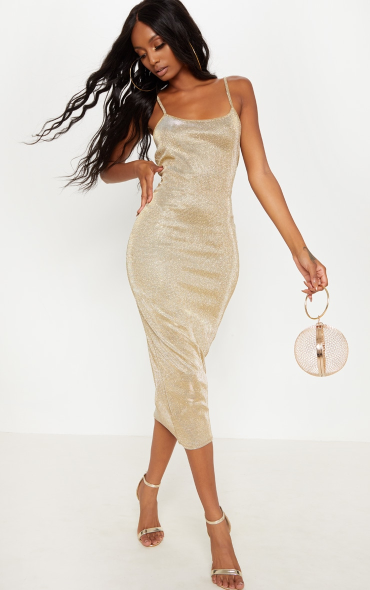 Gold Strappy Glitter Midaxi Dress 1