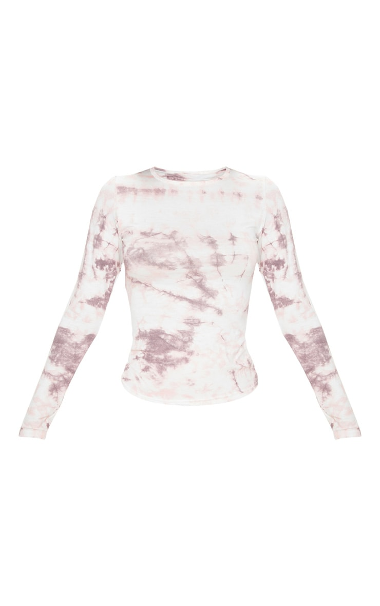 Basic Pink Tie Dye Long Sleeve Fitted T Shirt 3
