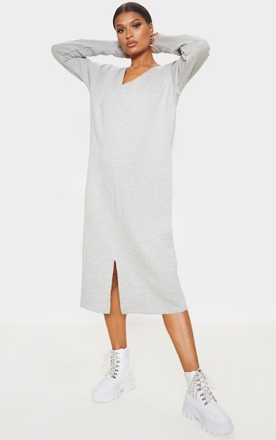 Grey Marl Oversized V Neck Split Front Sweat Midi Dress