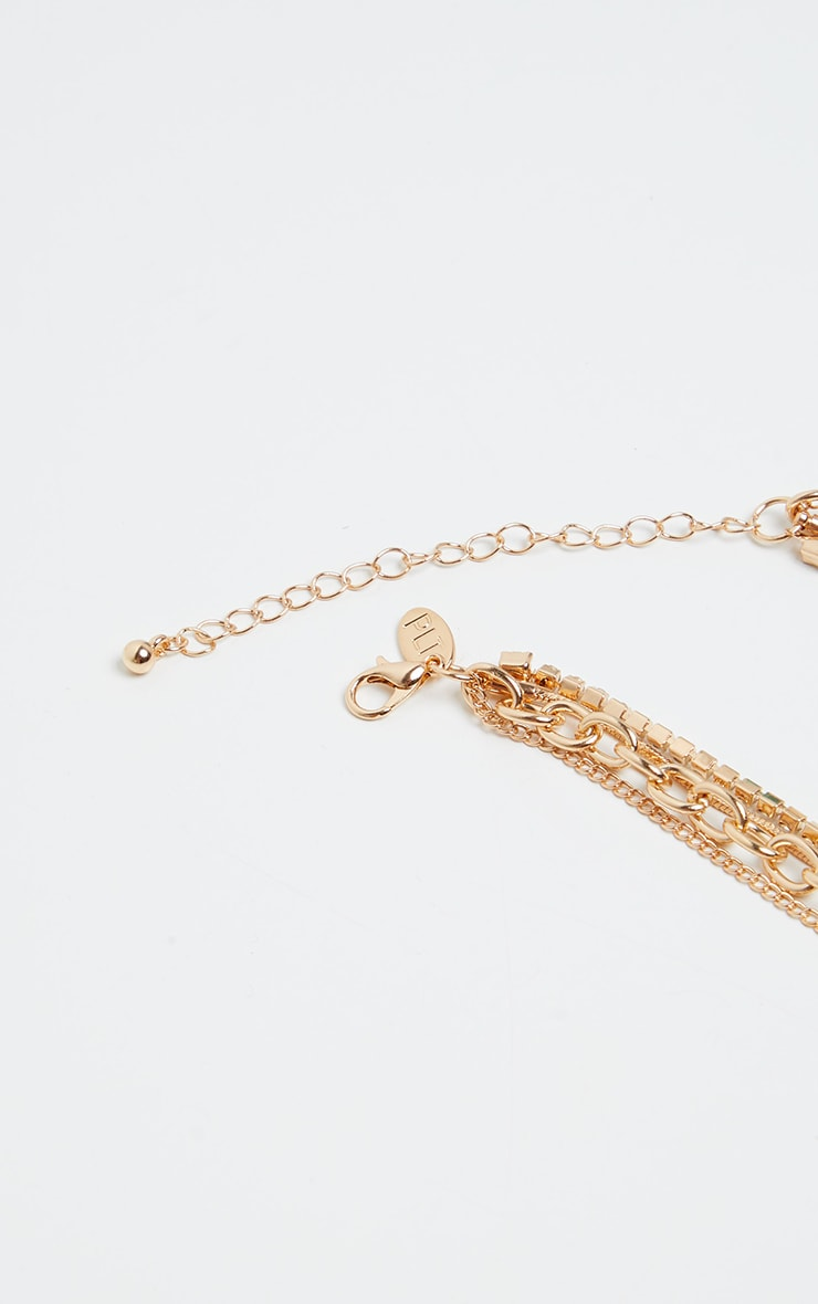 Gold Assorted Multi Chain Snake Necklace 3