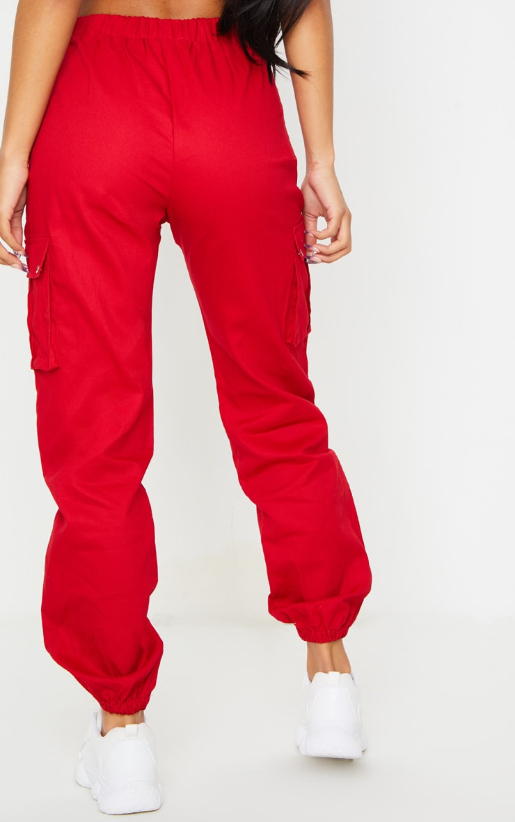 Red Pocket Detail Cargo Trousers 3