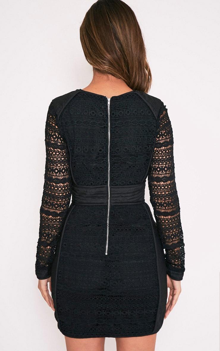 Cataleena Premium robe moulante en dentelle noire 2