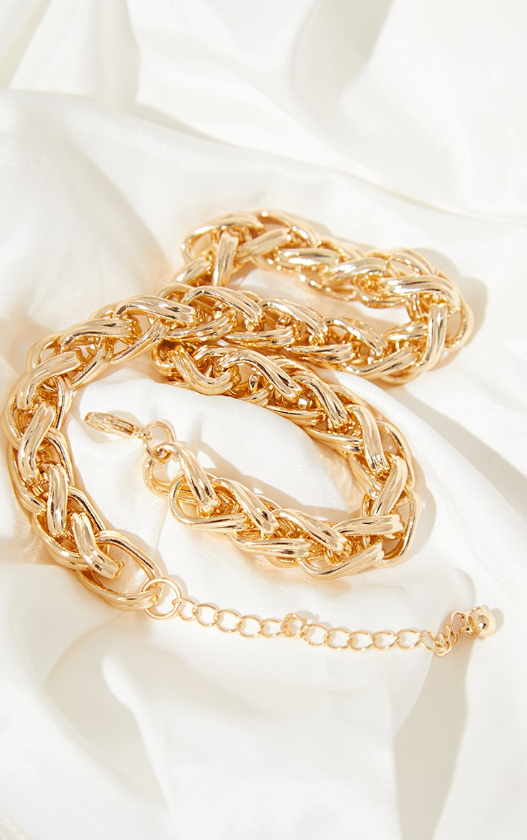 Gold Chunky Twist Chain Necklace 4