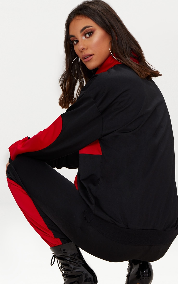 Black Colour Block Tracksuit Top  2