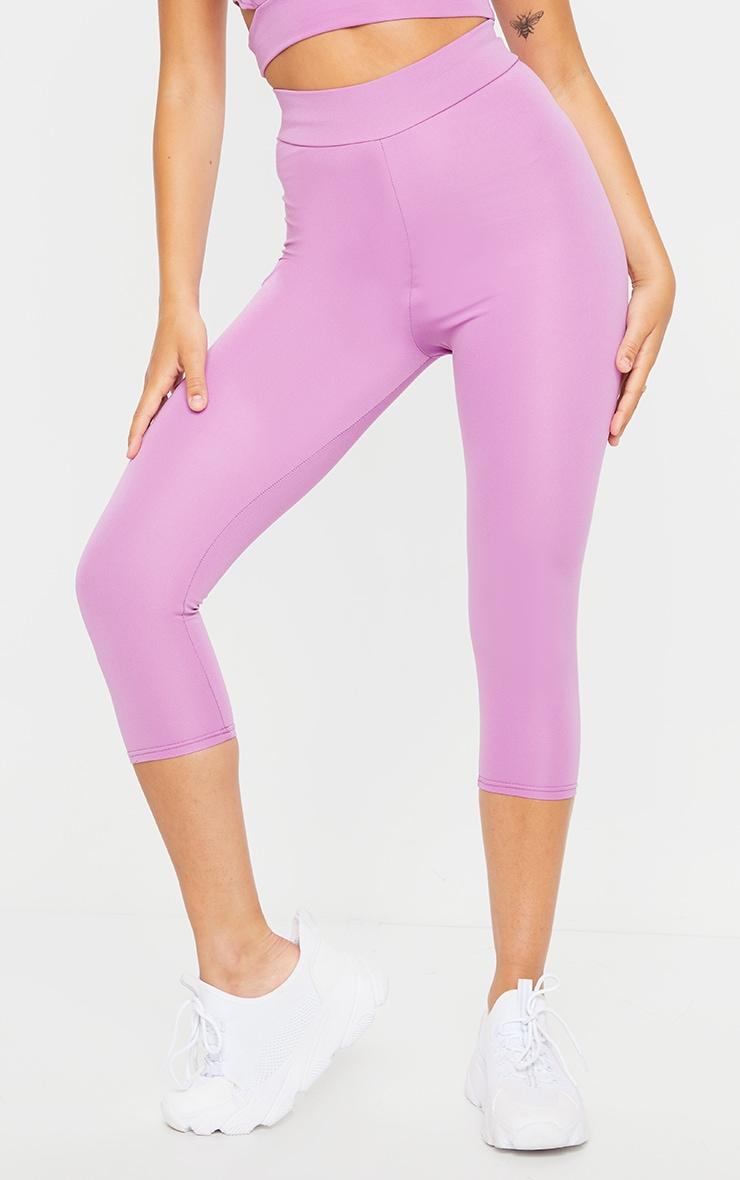 Purple Basic Cropped Gym Leggings 2