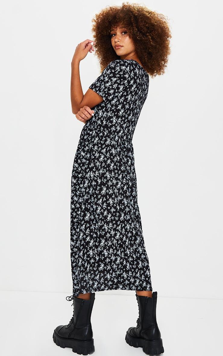 Black Ditsy Print Short Sleeve Midi Smock Dress 2