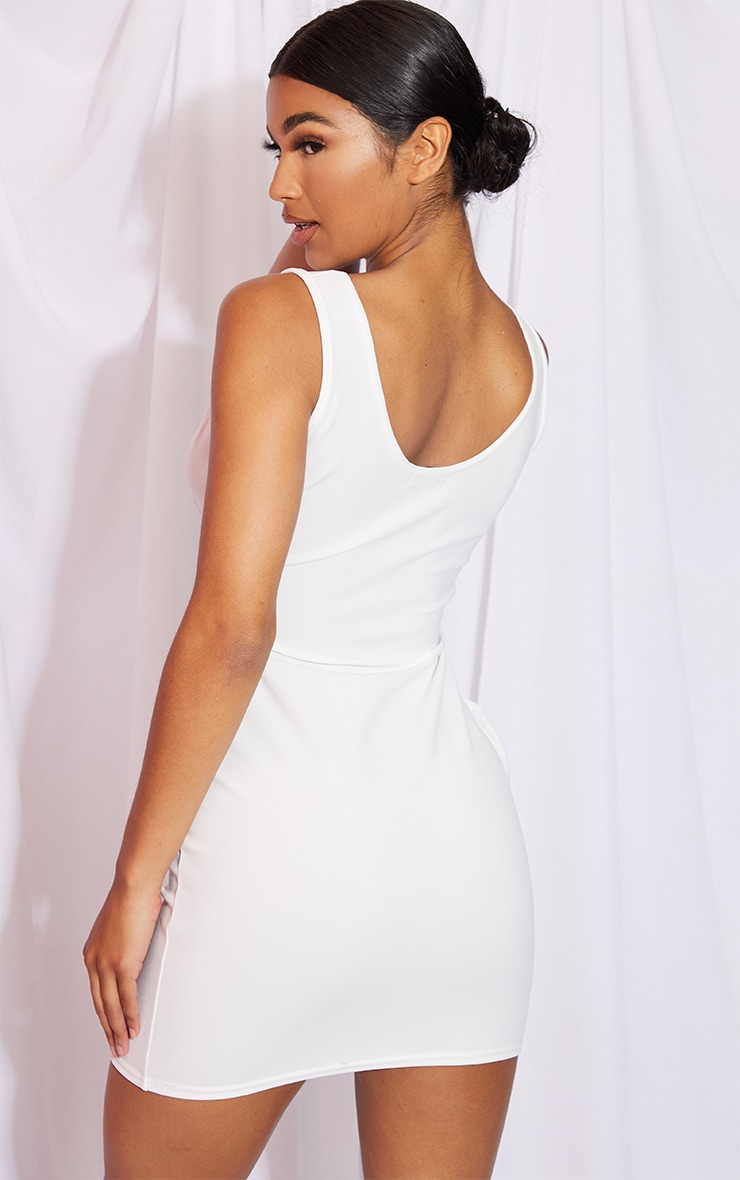 White Bust Detail Sleeveless Bodycon Dress 2