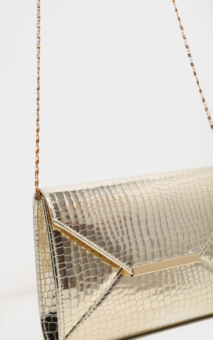 Gold Patent Croc Envelope Clutch 5