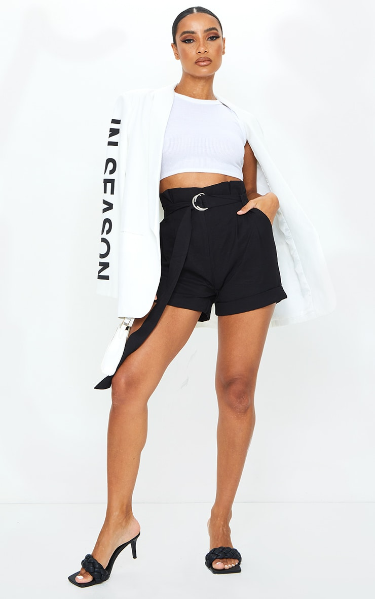 Black Belted Woven Tailored Shorts 4