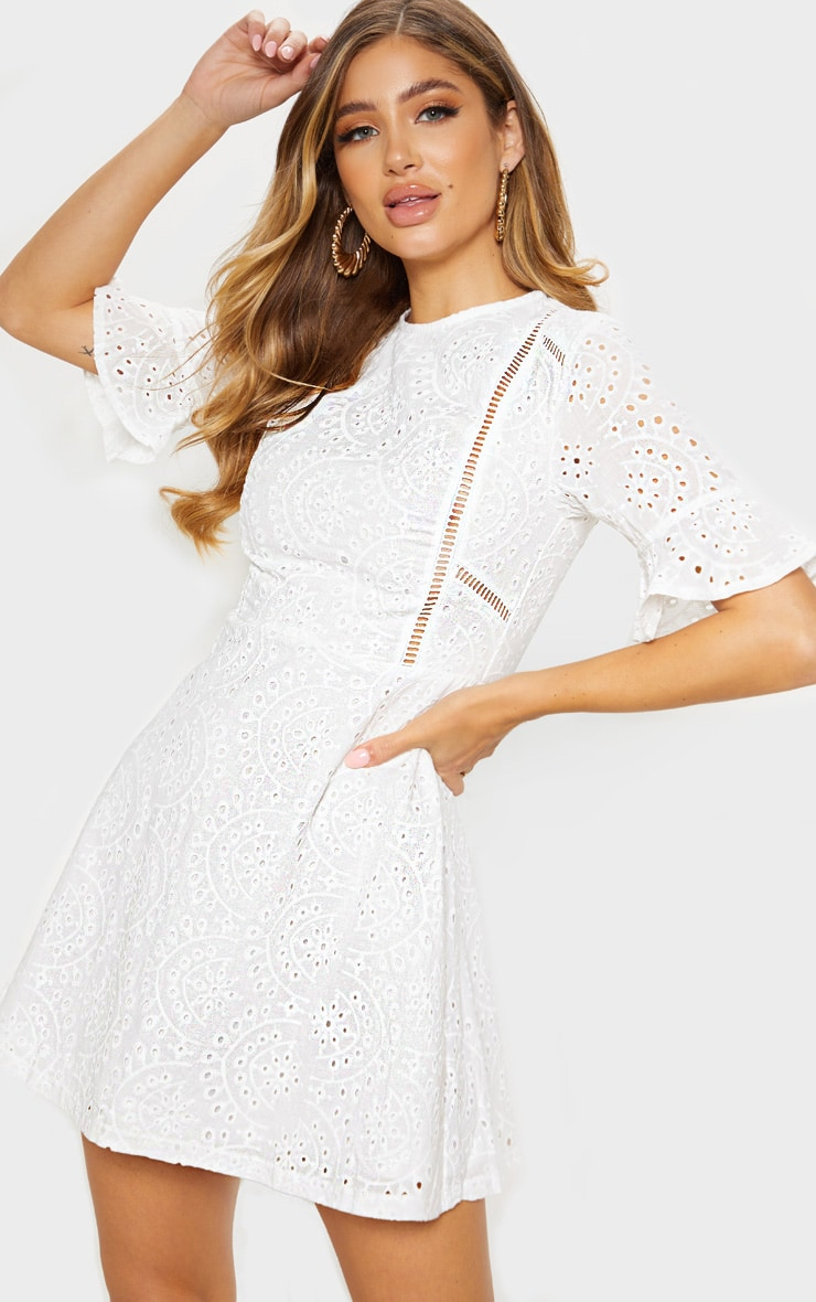 White Broderie Anglaise Frill Sleeve Skater Dress 1