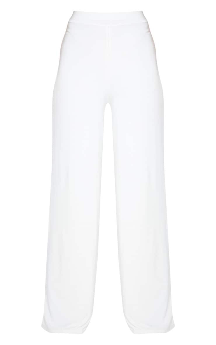 Cream Slinky Detail Wide Leg Pants 3