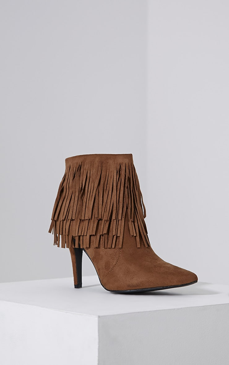 Torah Tan Pointed Fringe Suede Boots 3