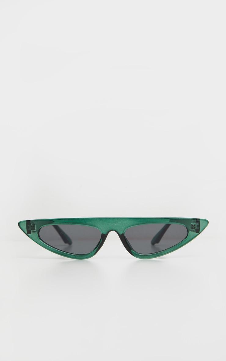Green Flat Top Slim Cat Eye Sunglasses 2
